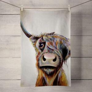 A_Bad_Hair_Day_Highland_Cow_Tea_Towel