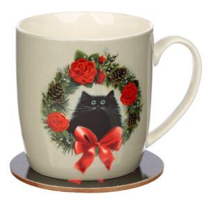 Kim Haskins Christmas Porcelain Mug Coaster Set