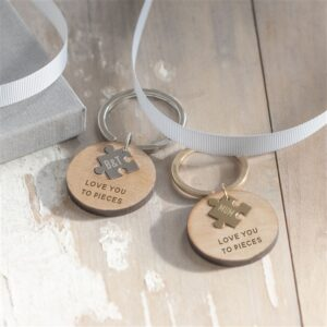 Wooden 'Love You To Pieces' Keyring - Silver