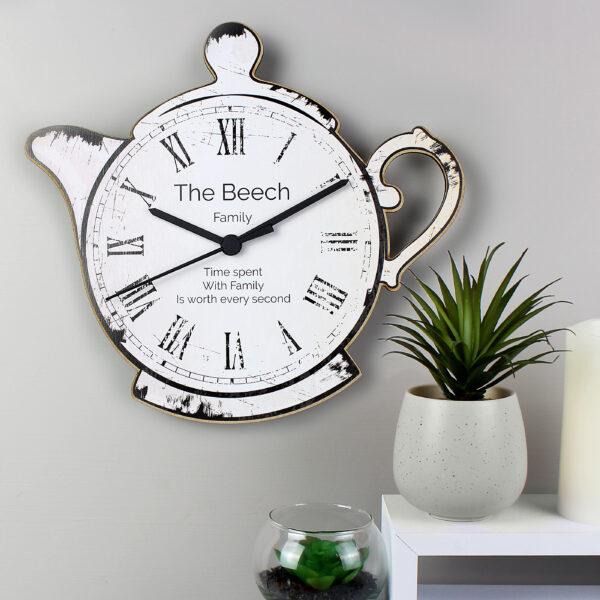 Personalised Teapot Shape Wooden Clock