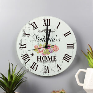 """Personalised Shabby Chic """"Home is Where the Heart is"""" Floral Glass Clock"""