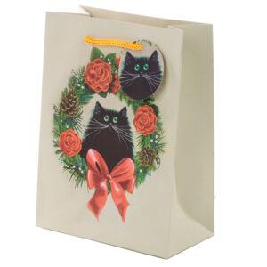Kim Haskins Cat Wreath Medium Christmas Gift Bags x 3