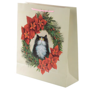 Kim Haskins Cat Wreath Extra Large Christmas Gift Bags x 3