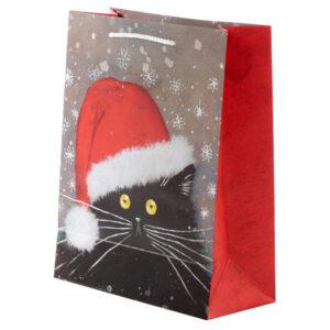 Kim Haskins Cat Christmas Large Gift Bag