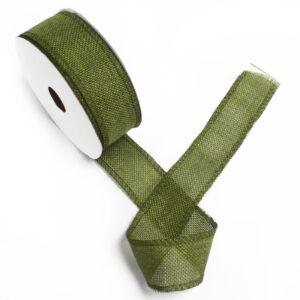 Natural Texture Ribbon 38mm x 20m - Xmas Green