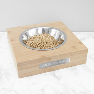 Personalised Bamboo Pet Bowl with Metal Tag