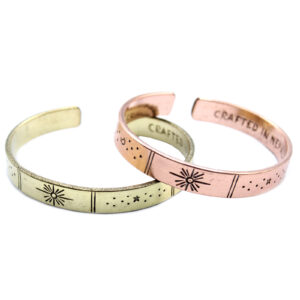 Inspiration Bracelet - Sunrise, Galaxy, Stars, Earth - Copper or Brass