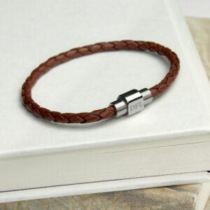 Personalised Men's Woven Leather Bracelet