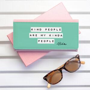 Personalised Kind People Green & Pink Wallet