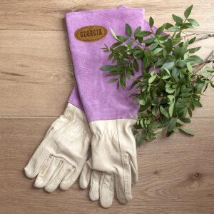 Pink Leather Gardening Gloves