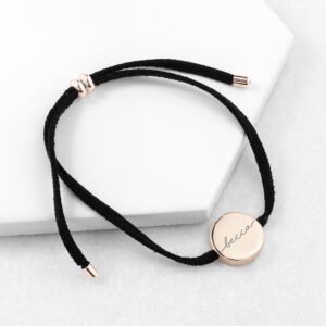 Personalised Always with You Name Black Bracelet Rose Gold