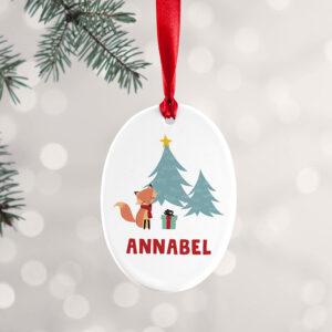 Personalised Christmas Fox Decoration